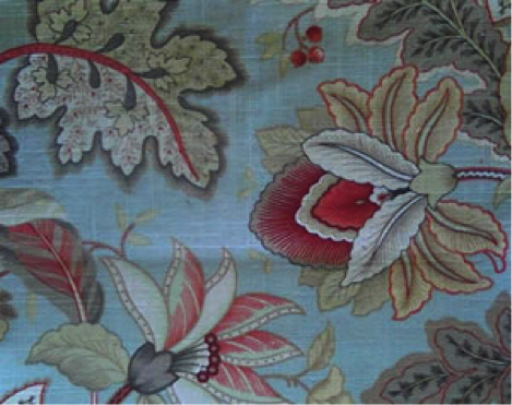 Mavis Floral Pastel Chevron Herringbone Tapestry Pale Upholstery Fabric